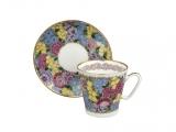 Lomonosov Porcelain Bone China Cup and Saucer Spring Flowers 2.71 fl.oz/80 ml