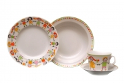 Lomonosov Porcelain Baby Set 4ps: Cup with saucer, Plate and Bowl Roundelay