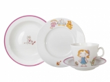 Lomonosov Porcelain Baby Set 4ps: Cup with saucer, Plate and Bowl For Girl