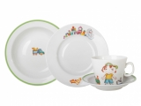 Lomonosov Porcelain Baby Set 4ps: Cup with saucer, Plate and Bowl For Boy