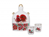 Lomonosov Imperial Porcelain Whiskey/Vodka Decanter Set Slavic Red Rooster 22 oz/650 ml