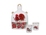 Lomonosov Imperial Porcelain Whiskey/Vodka Decanter Set Slavic Red Rooster 22 oz/650 ml