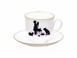 Lomonosov Imperial Porcelain Bone China Cup and Saucer Little Girl 6.1 fl.oz/180ml