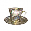 Lomonosov Imperial Porcelain Bone China Cup and Saucer Oriental Gifts 2.71 fl.oz/80 ml
