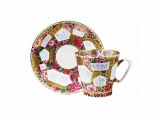 Lomonosov Porcelain Imperial Bone China Cup and Saucer Floral Background 2.71 fl.oz/80 ml