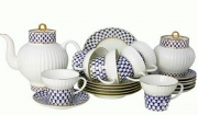 Lomonosov Imperial Porcelain Cobalt Net Wave Bone China Tea Set 6/21