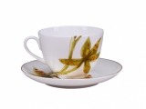 Lomonosov Porcelain Spring-2  Tea Set 2 pc Yellow Orchid