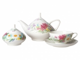 Lomonosov Porcelain Bone China Dome Wildflowers Tea Set Service 14 items