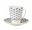 Lomonosov Bone China Cup Set May Cobalt Flower Blues 5.6 fl.oz/165 ml 2