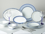 Lomonosov Porcelain Dining Set Service 24 items for 6 people European White Sea