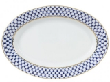 """Lomonosov Porcelain Oval Serving Platter Cobalt Net 14.2""""/360mm"""