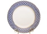 "Lomonosov Porcelain Round Serving Platter Dish Cobalt Net 12.6""/ 320mm"