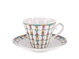 Lomonosov Porcelain Cup and Saucer Radiant Geometry 7.95 oz/235 ml