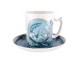 Lomonosov Porcelain Coffee Mug and Saucer Men's Stories Fishing 12.8 oz