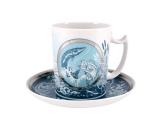 Lomonosov Porcelain Coffee Mug and Saucer Men's Stories Fishing 12.8 oz