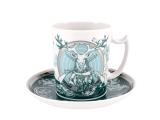 Lomonosov Porcelain Coffee Mug and Saucer Men's Stories Hunting 12.8 oz