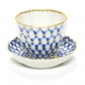 Lomonosov Porcelain Tea Piala with Saucer Tulip Cobalt Net 4.7 oz/140 ml