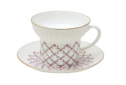 Lomonosov Porcelain Bone China Espresso Coffee Cup and Saucer Wave Pink Net 5.24 oz/155 ml