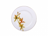 "Lomonosov Porcelain Dinner Plate Flowering Yellow Orchid 9.8""/250 mm"