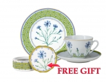Special Offer Set: Decorative Plate and Teacup with Free Bijou Box Blue Cornflower Lomonosov Porcelain