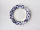 "Imperial Porcelain Lomonosov Tablecloth Cobalt Net 57""x57"" White"