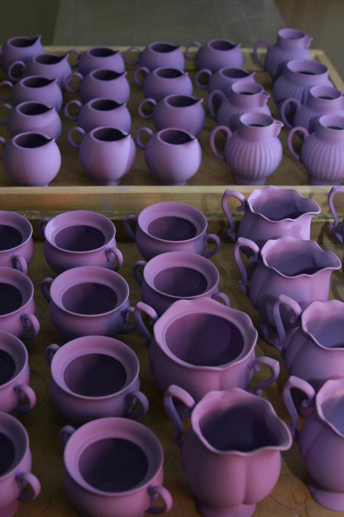 Glazed items, ready to kiln